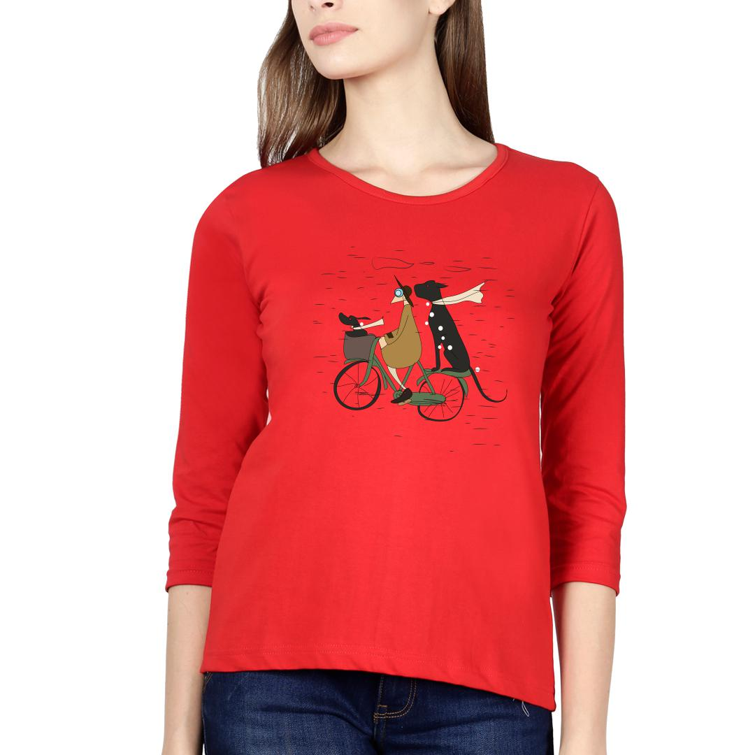 366720a7 Me And My Pets Ride On A Rainy Day Women Full Sleeve T Shirt Red Front