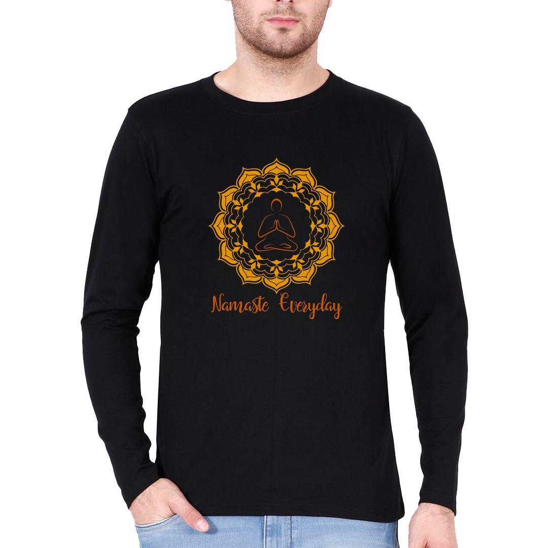3b7d6b43 Namaste Everyday Men Full Sleeve T Shirt Black Front