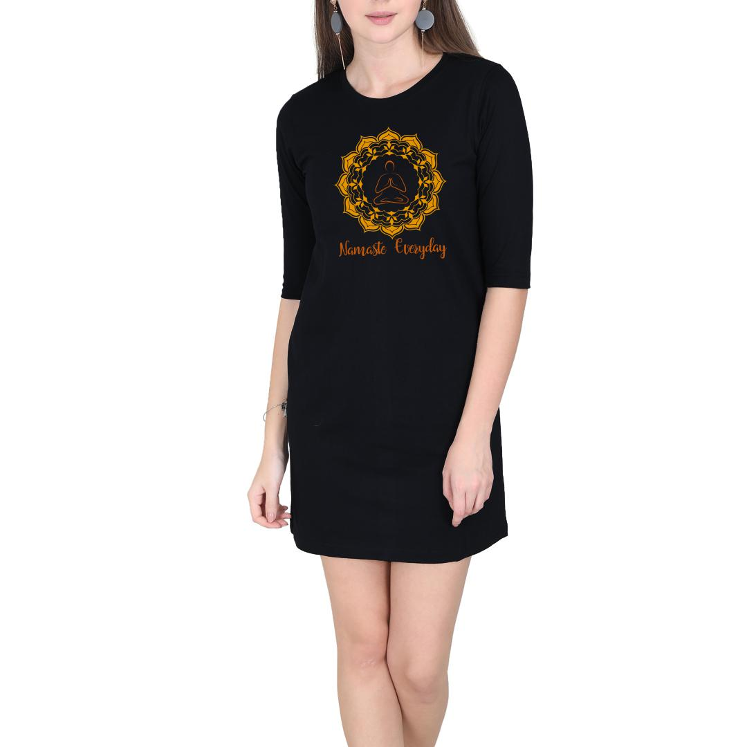 3be9c22c Namaste Everyday Women T Shirt Dress Black Front