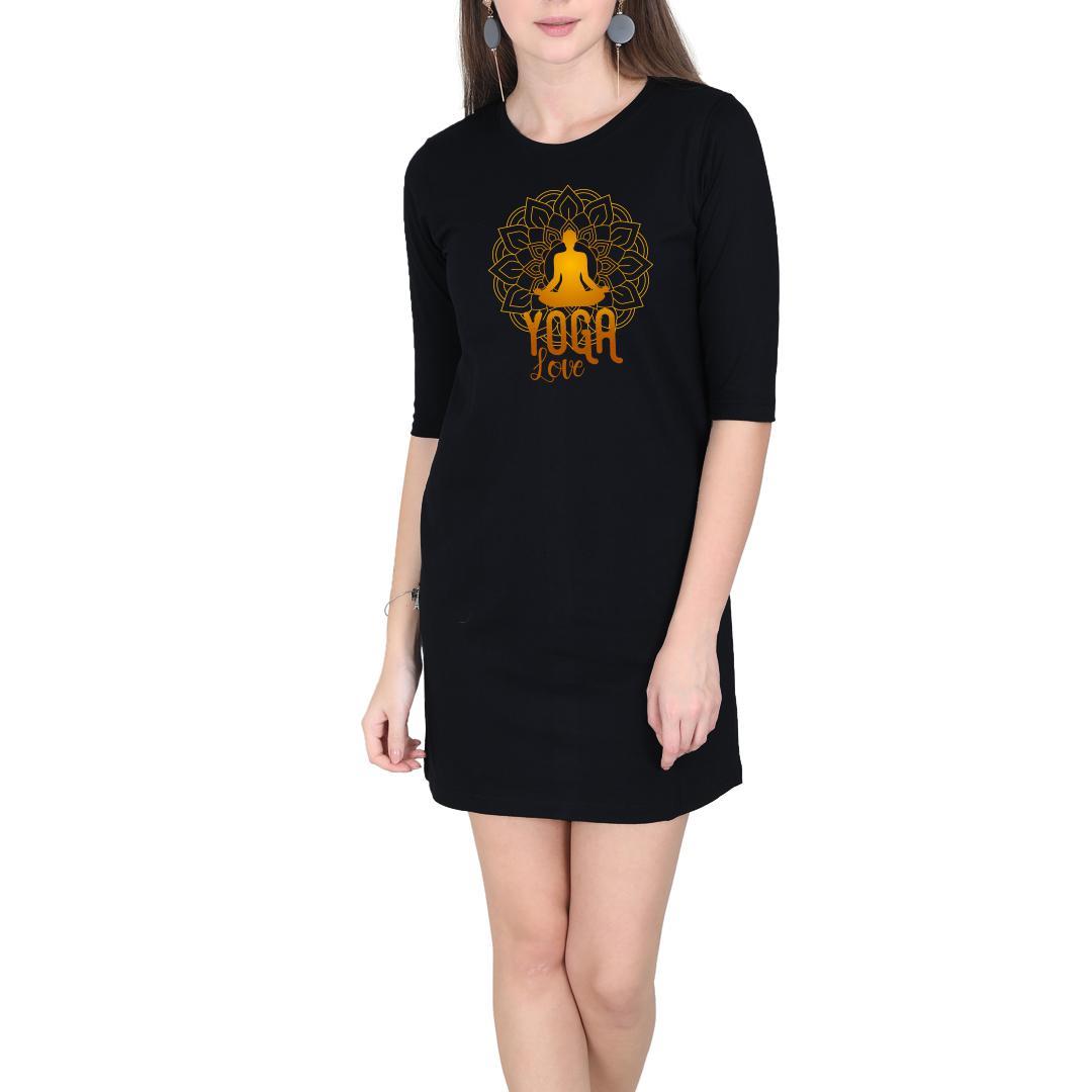 47317417 Yoga Love Women T Shirt Dress Black Front