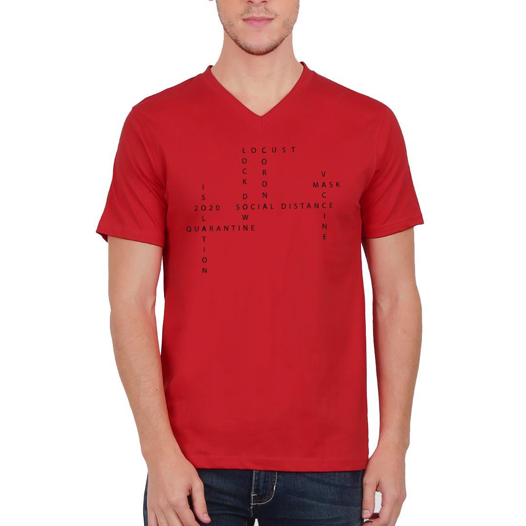 4c491dd9 About 2020 Men V Neck T Shirt Red Front