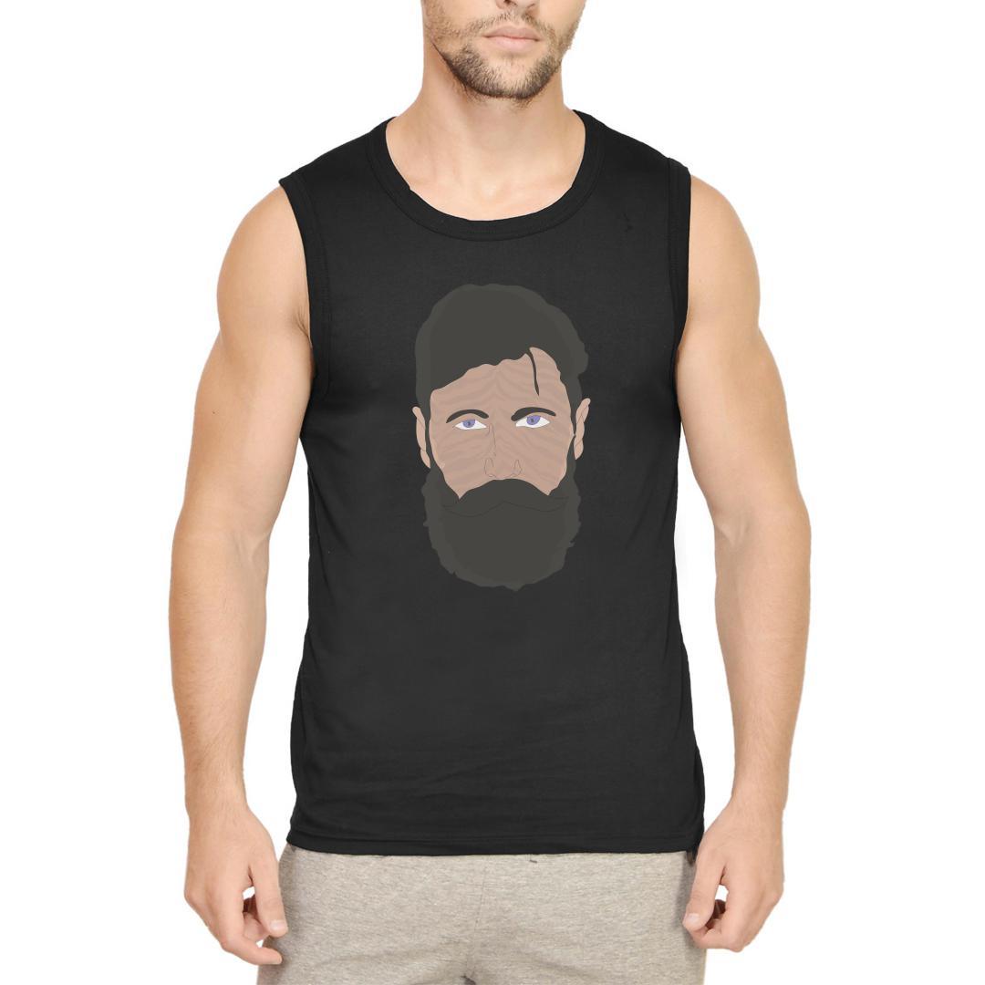 58b74129 Beardo Man Men Sleeveless T Shirt Black Front