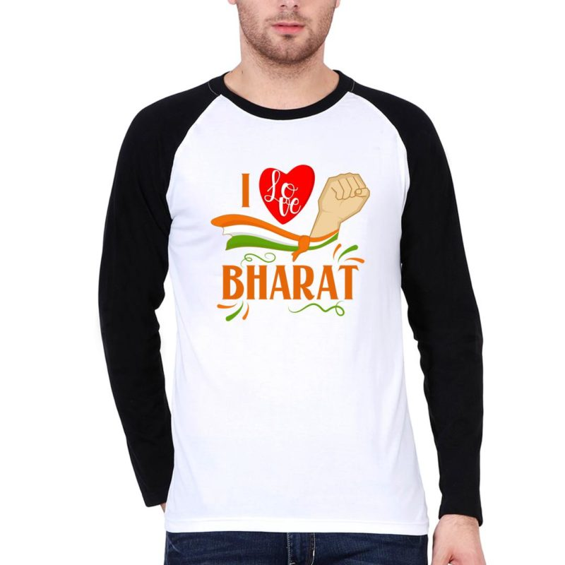 6218317e i love bharat men raglan t shirt black white front