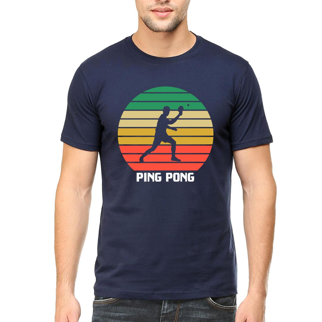 63575d23 Ping Pong Retro Effect Vintage Colourfulmen Round Neck T Shirt Navy Front