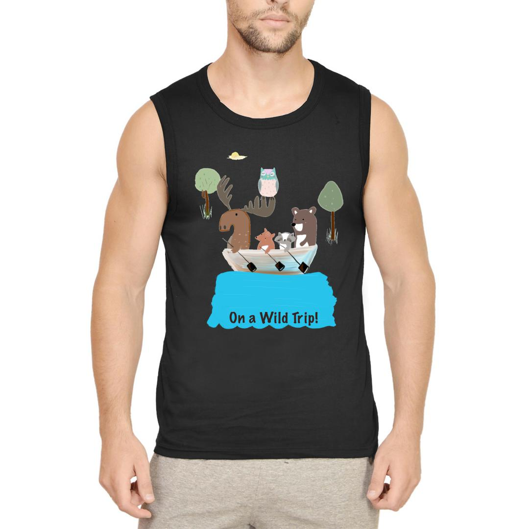 7069d24c On A Wild Trip For Animal Lovers Men Sleeveless T Shirt Black Front