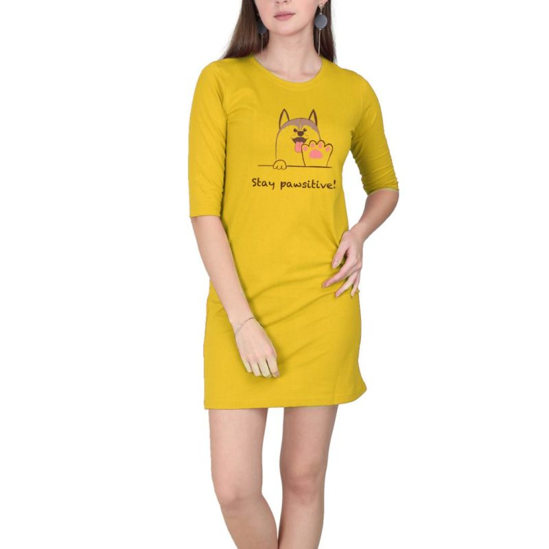 7120f52f stay pawsitive slogan for everyone women t shirt dress yellow front