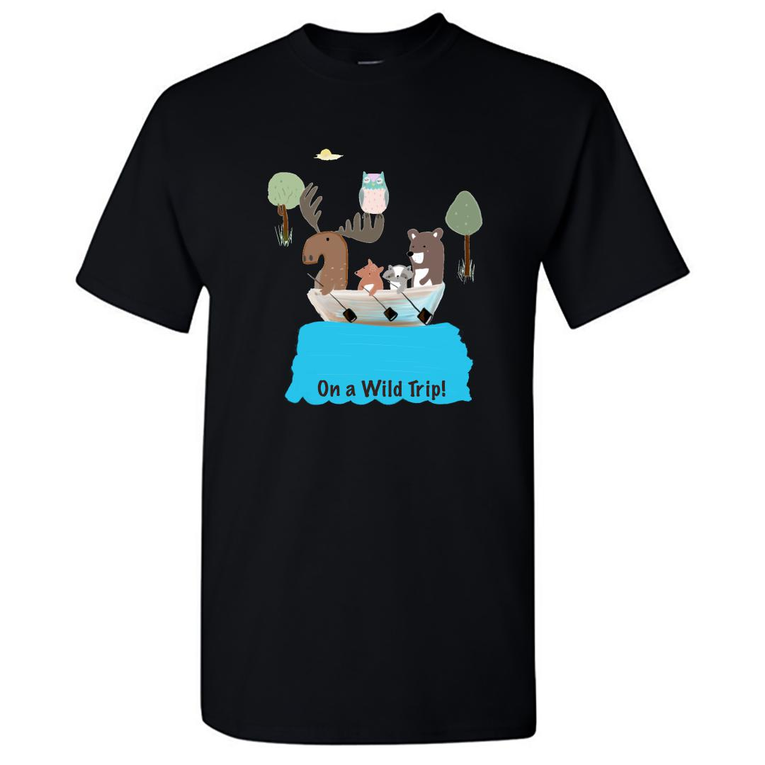 734415cb On A Wild Trip For Animal Lovers Round Neck T Shirt Black Front
