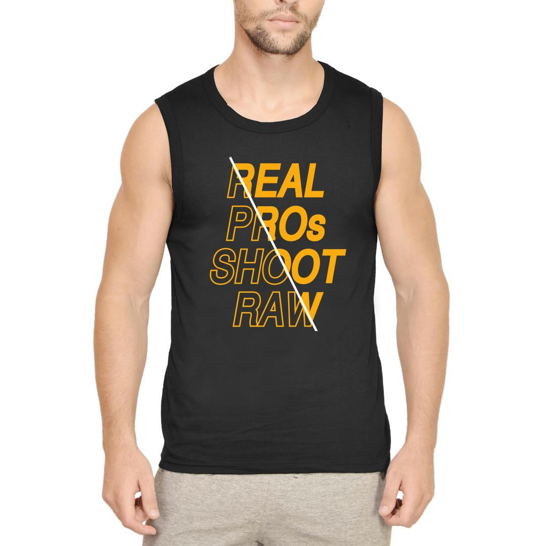 7423fa87 Real Pros Shoot Raw Perfect Gift For Photographers Men Sleeveless T Shirt Black Front