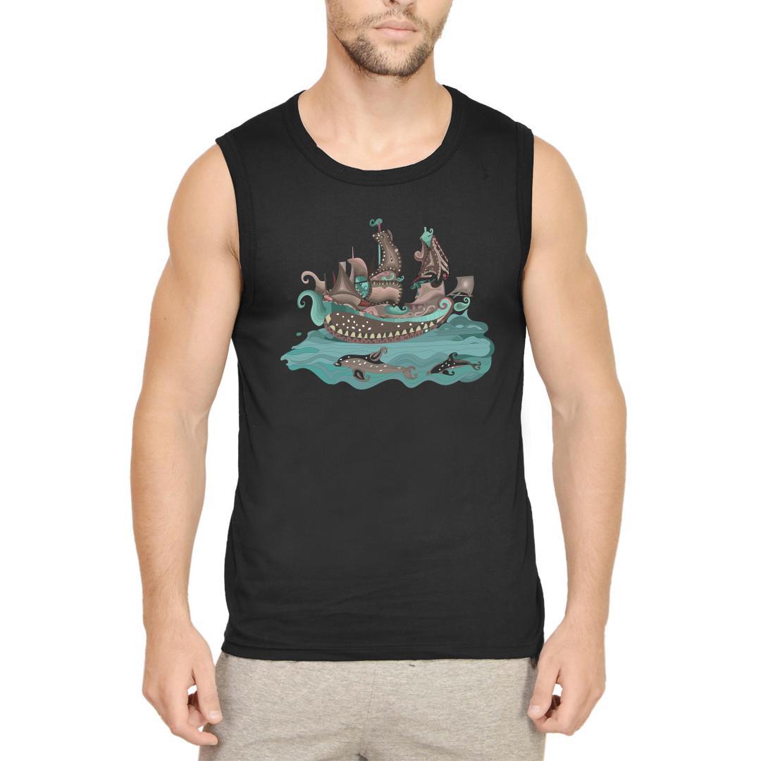 7588f046 Traditional Decorative Paisley Sailing Ship And Fish Men Sleeveless T Shirt Black Front