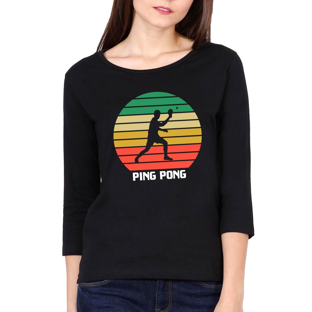 81cab3bc Ping Pong Retro Effect Vintage Colourful Women Full Sleeve T Shirt Black Front