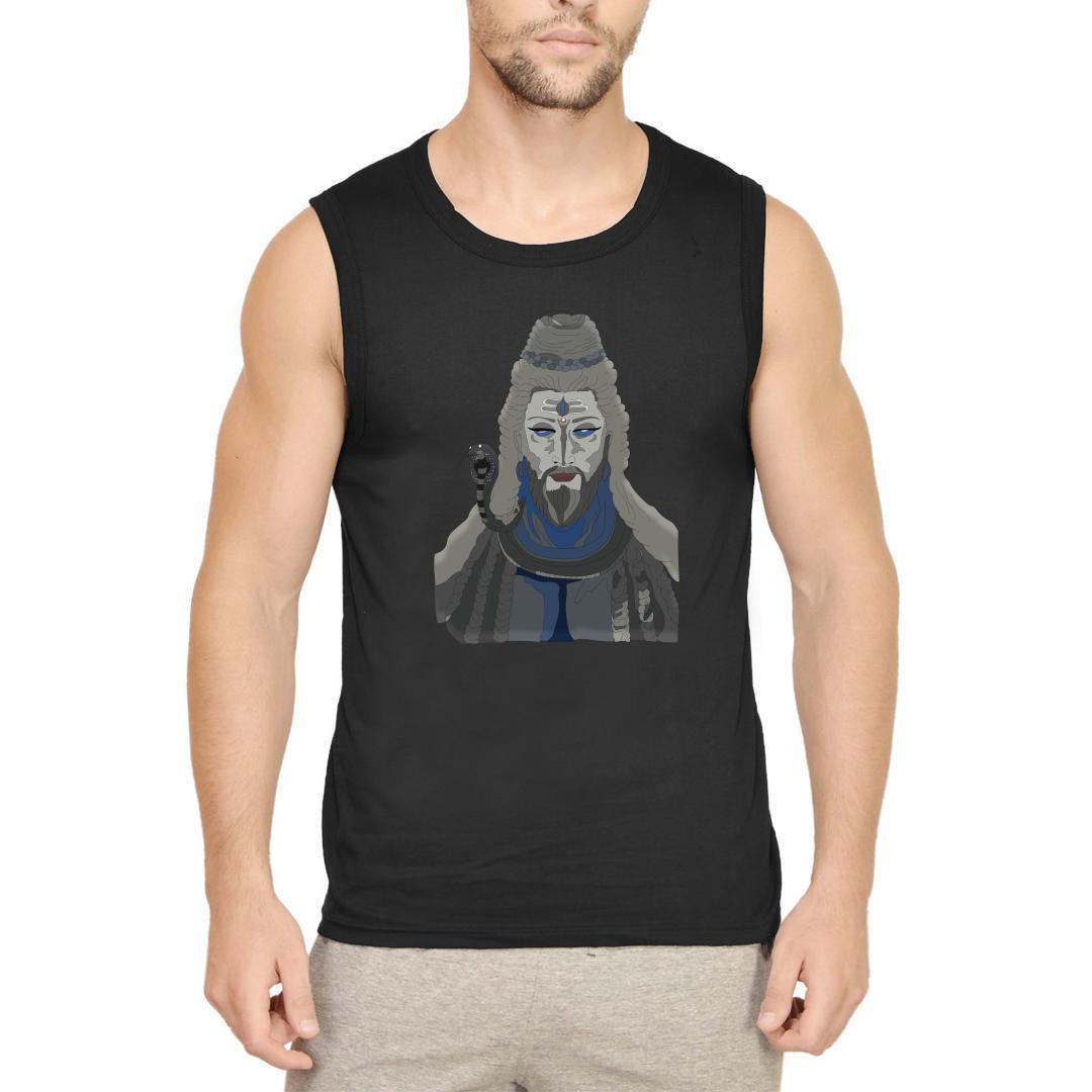 8280293e Adhiyogi The Meditating Shiva Men Sleeveless T Shirt Black Front