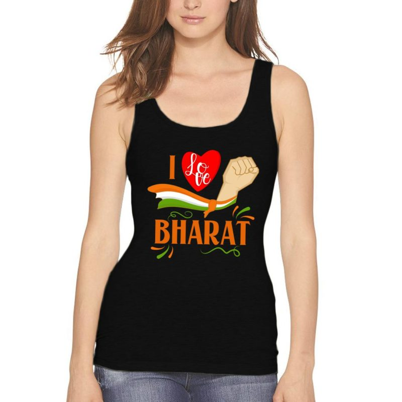 868c26b3 i love bharat women tank top black front