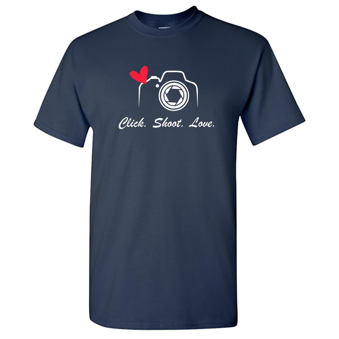 896f10c8 Click Shoot Love Photography Love Round Neck T Shirt Navy Front