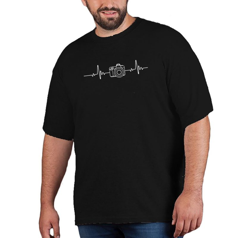 89c0697d photography its in my heartbeat camera enthusiasts men plus size t shirt black front