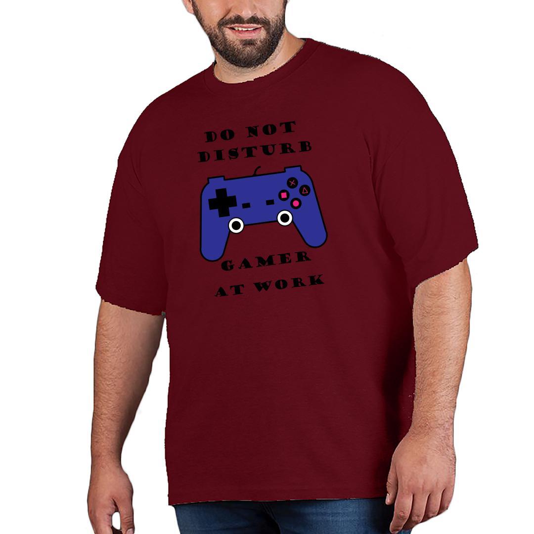 920db82d Do Not Disturb Gamer At Work Men Plus Size T Shirt Maroon Front