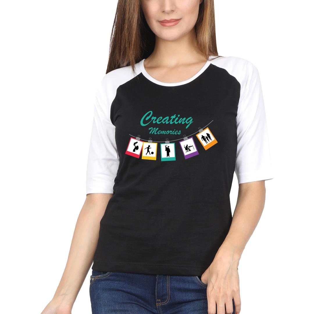 9753a112 Creating Memories For Others Life Of A Photographer Women Raglan T Shirt White Black Front