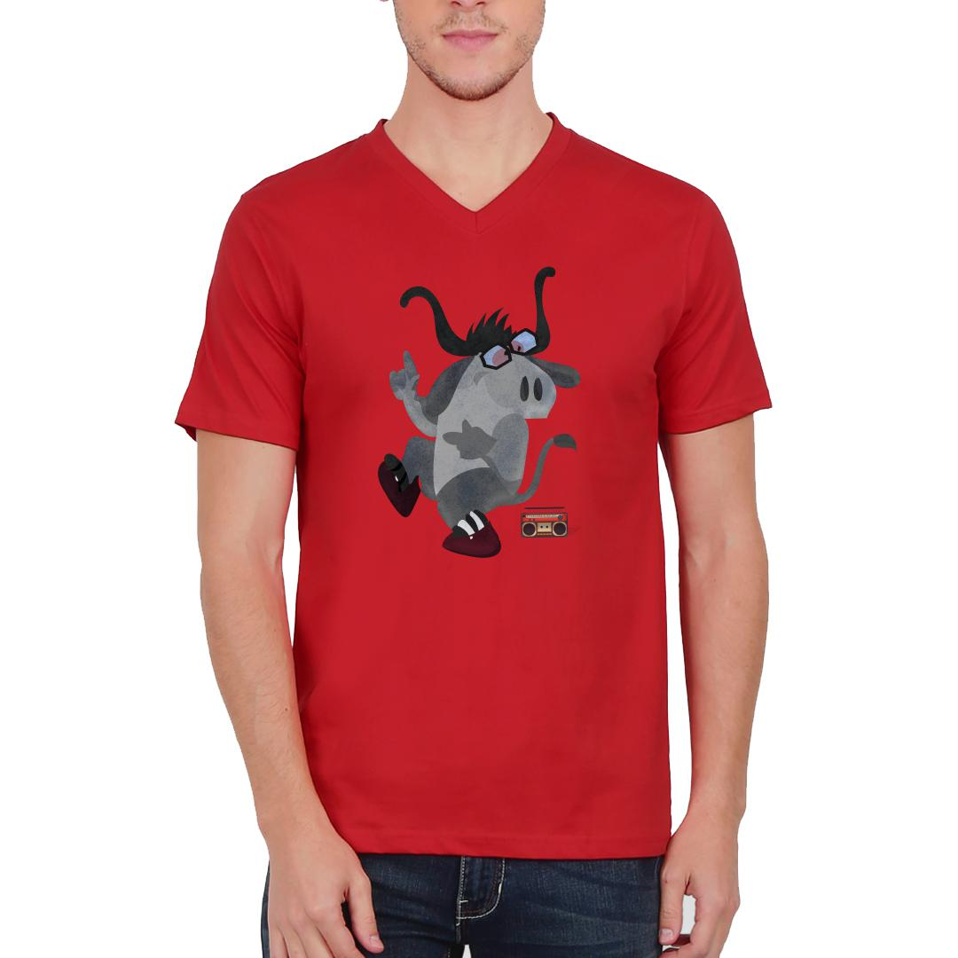 99f5d7ed Bhains Ke Aage Been Bajana Men V Neck T Shirt Red Front