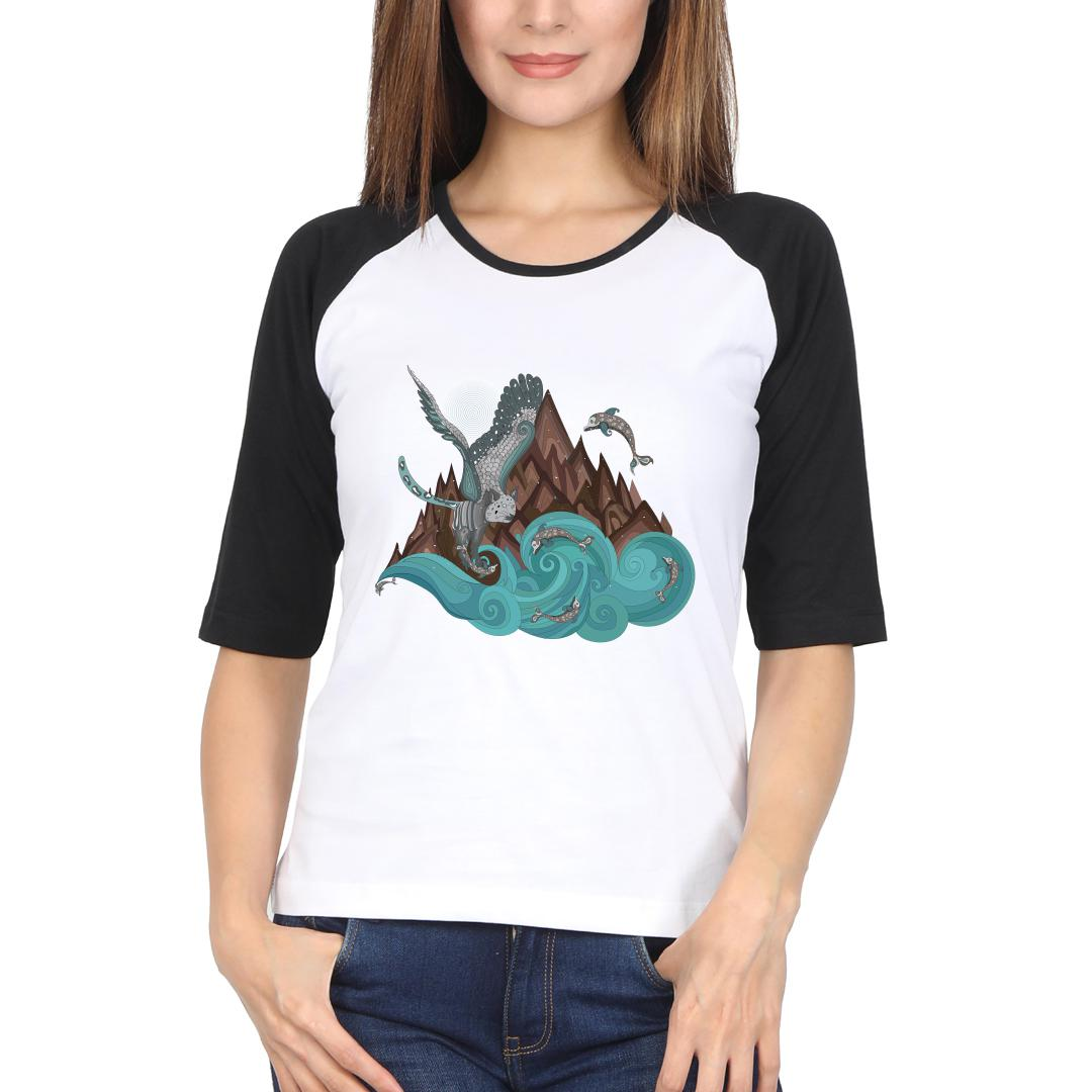 9af250f1 Mixing Of Two Worlds Alien Contact Women Raglan T Shirt Black White Front