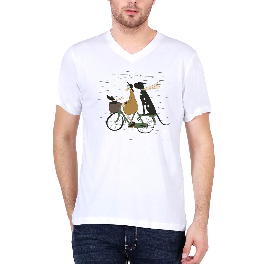 A0933b49 Me And My Pets Ride On A Rainy Day Men V Neck T Shirt White Front