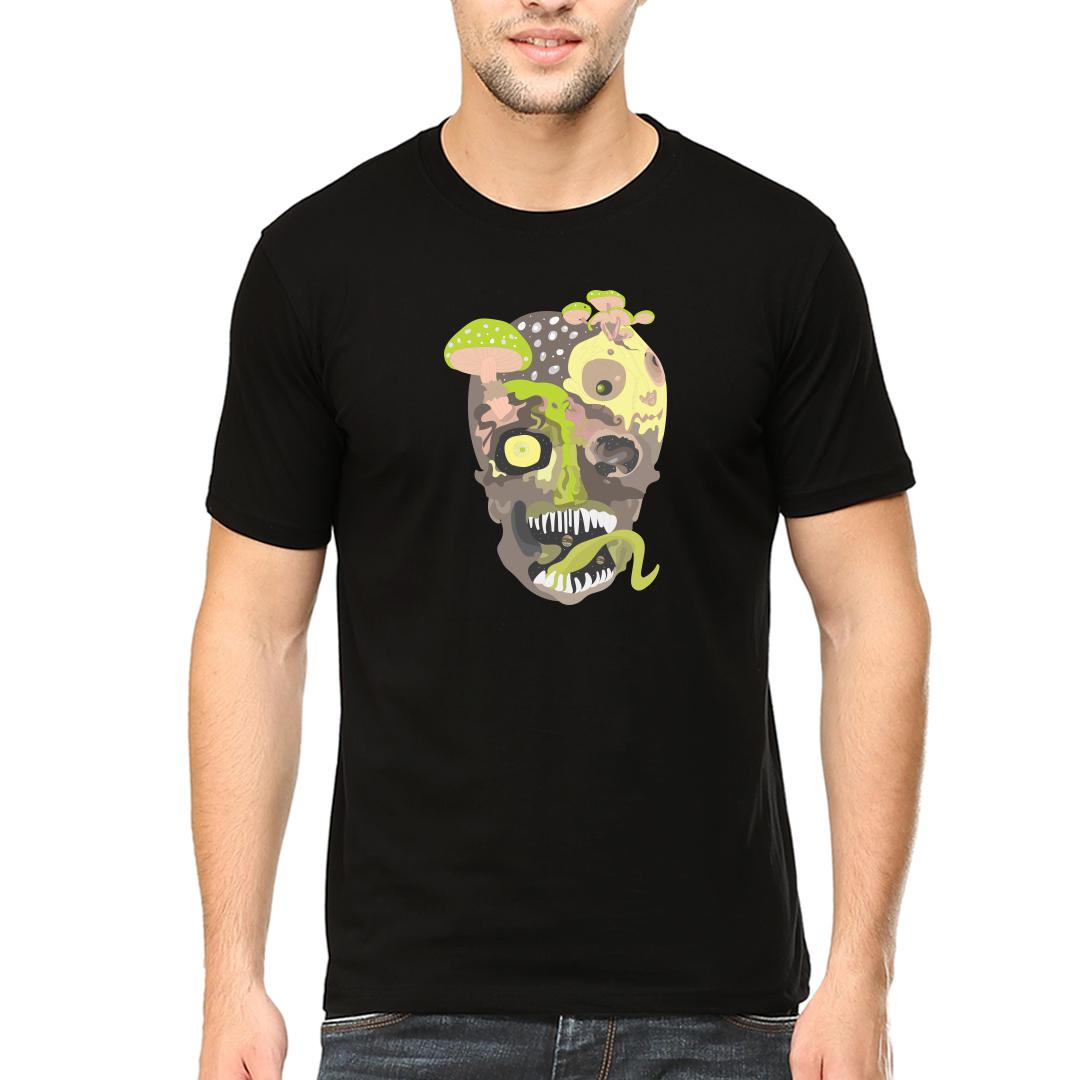 A95caabe Poisonous Skull And Mushroomsmen Round Neck T Shirt Black Front