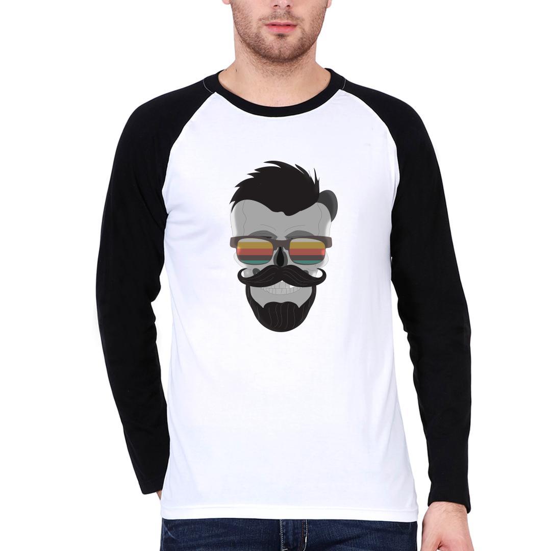 Aab5877c The Skull That Has Swag Men Raglan T Shirt Black White Front