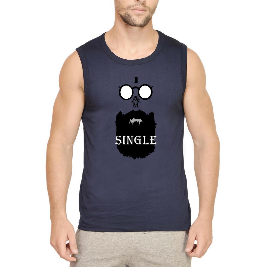 Ab32b89e I Am Single Men Sleeveless T Shirt Navy Front
