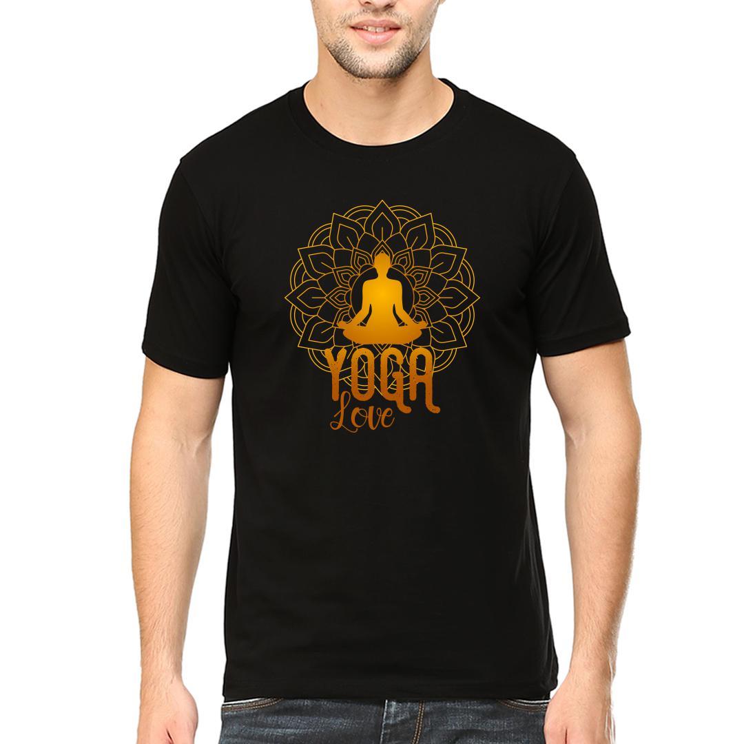 Abf870e3 Yoga Lovemen Round Neck T Shirt Black Front