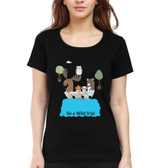 af2d2a0b on a wild trip for animal lovers women round neck t shirt black front