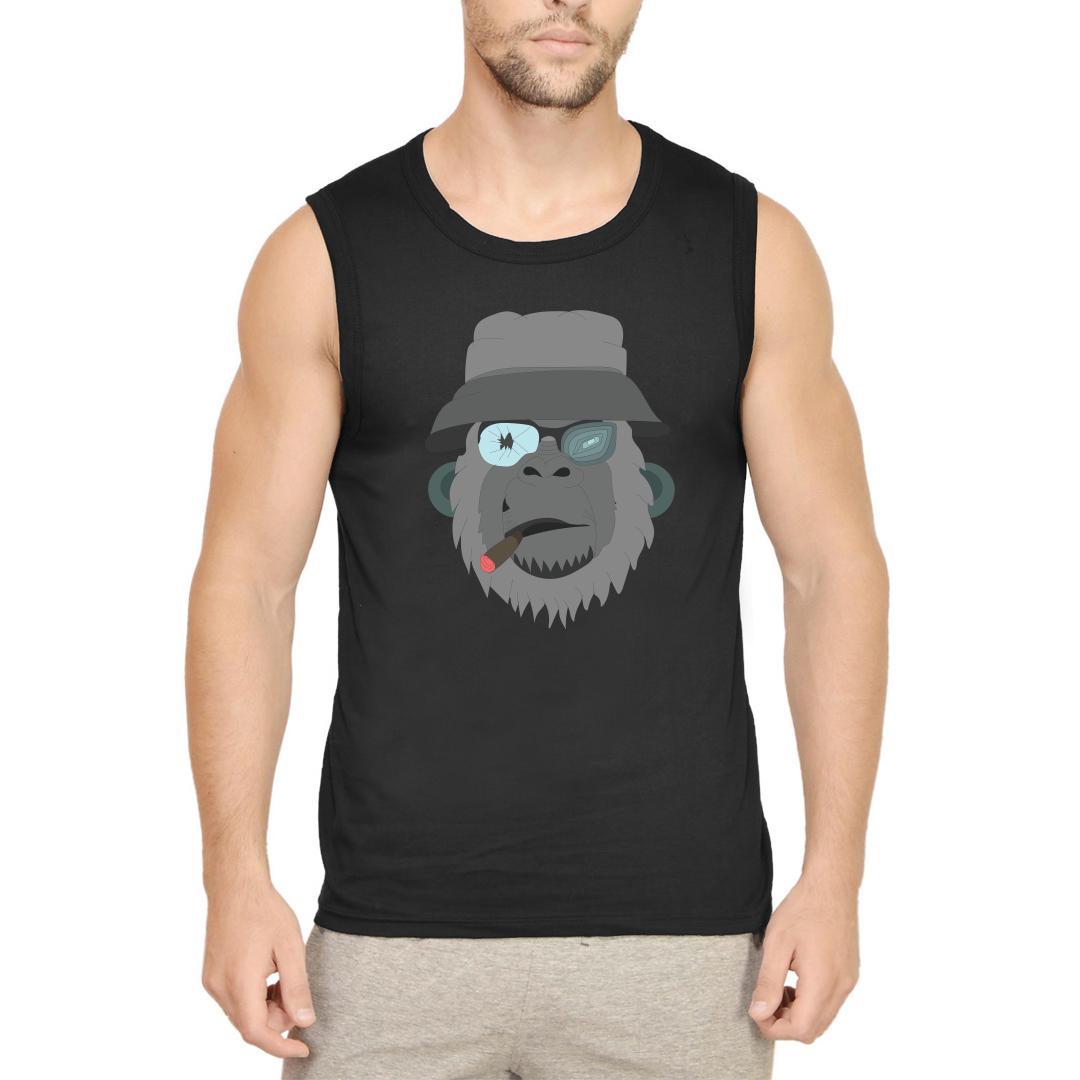 C075bf85 Smoking Chimpanzee Men Sleeveless T Shirt Black Front