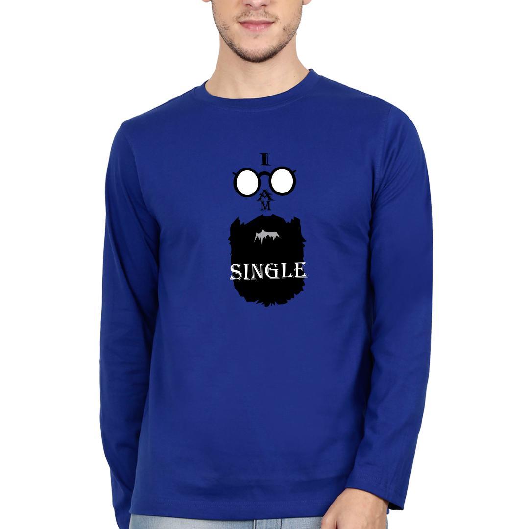 C2f65d96 I Am Single Men Full Sleeve T Shirt Royal Blue Front