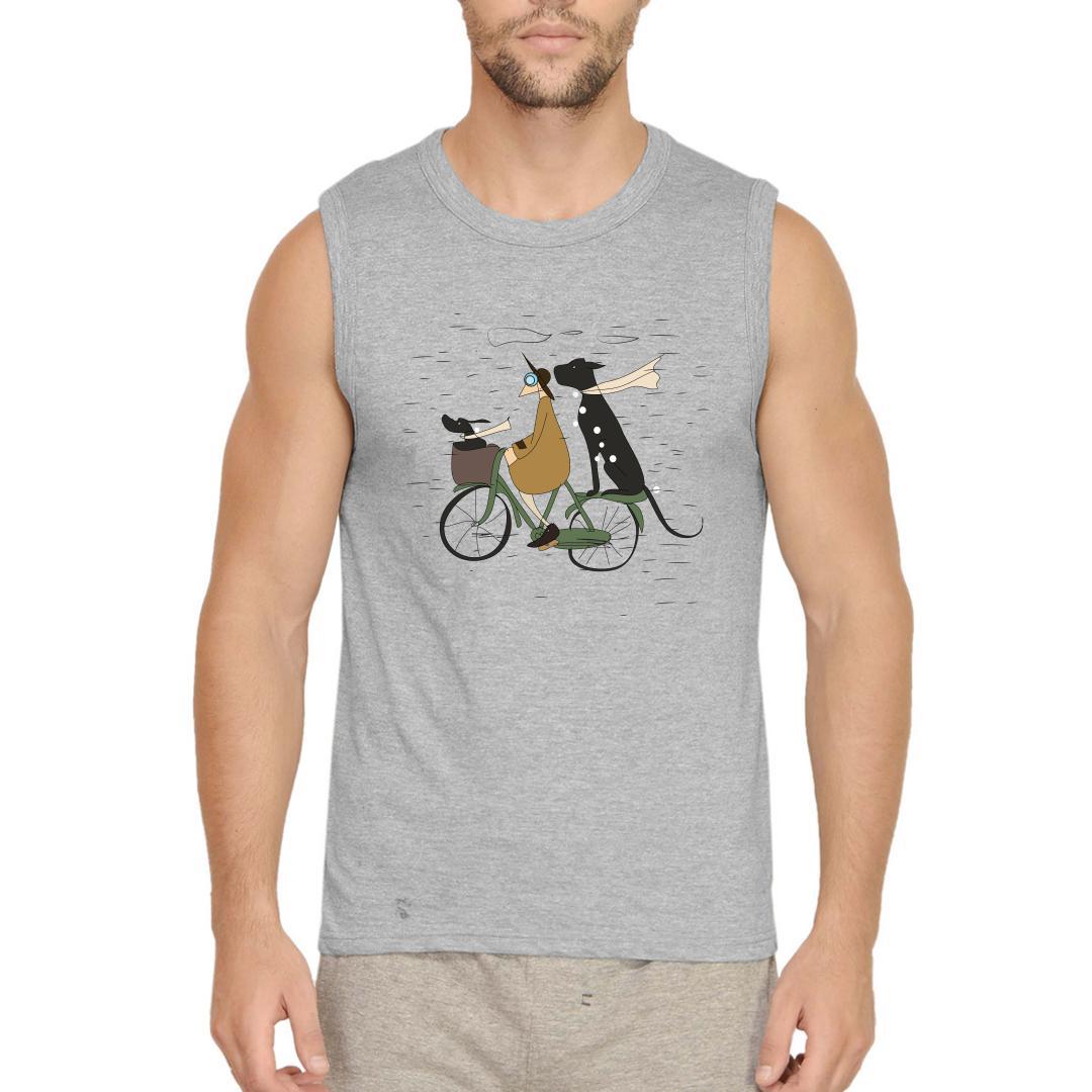 D376de1a Me And My Pets Ride On A Rainy Day Men Sleeveless T Shirt Grey Front