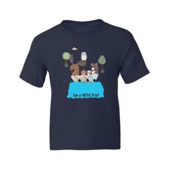d408788f on a wild trip for animal lovers kids t shirt navy front