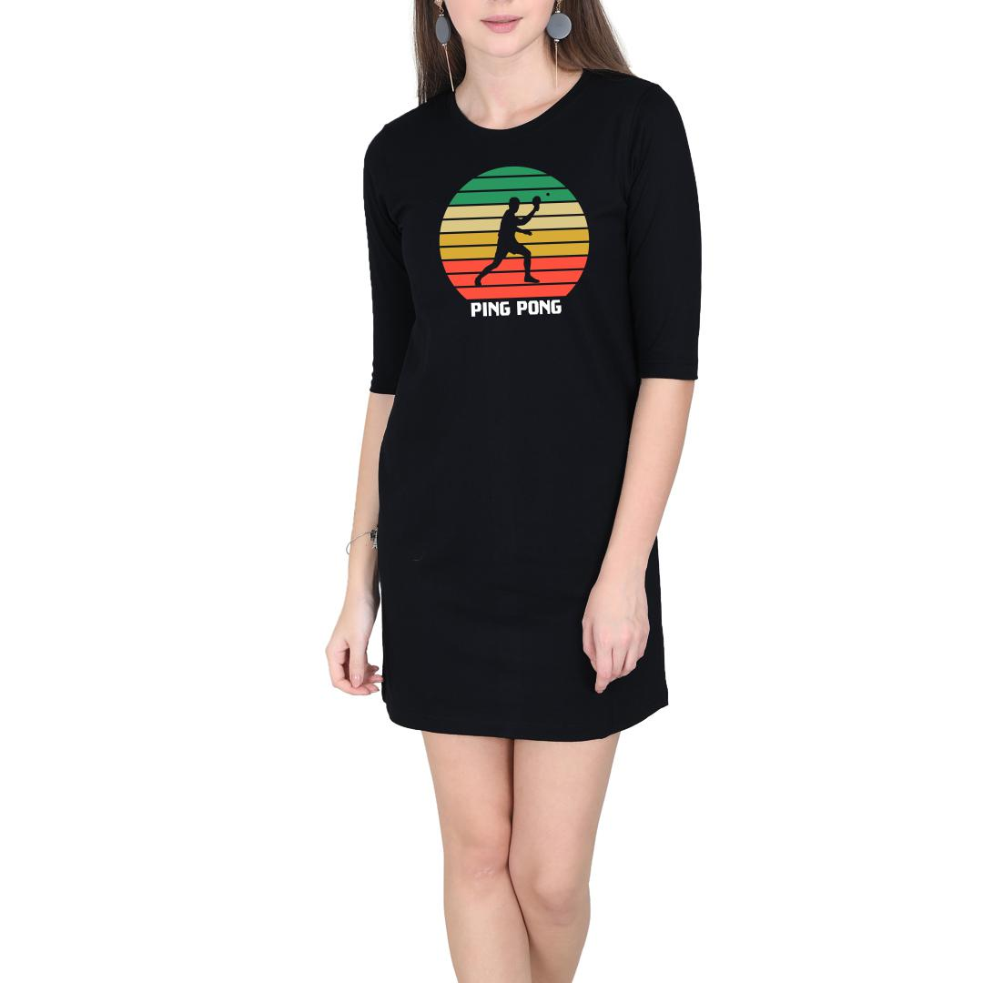 E65c1276 Ping Pong Retro Effect Vintage Colourful Women T Shirt Dress Black Front