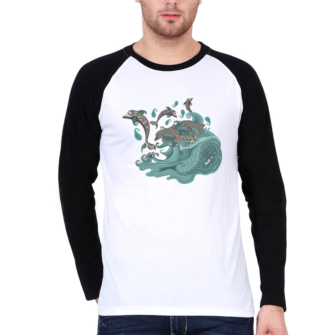 E67c71a4 Playful Dolphins And Roaring Waves Paisley Design Men Raglan T Shirt Black White Front