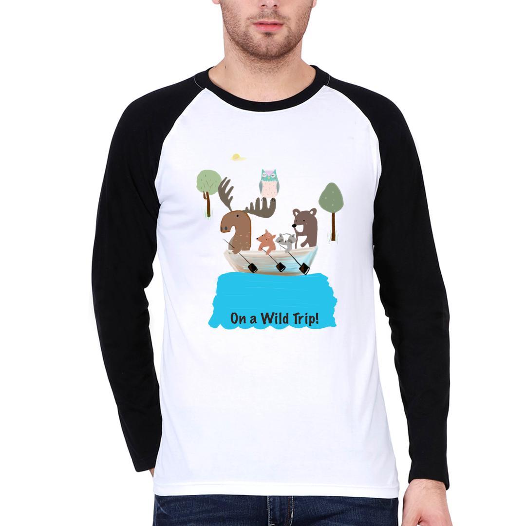 E685eb15 On A Wild Trip For Animal Lovers Men Raglan T Shirt Black White Front