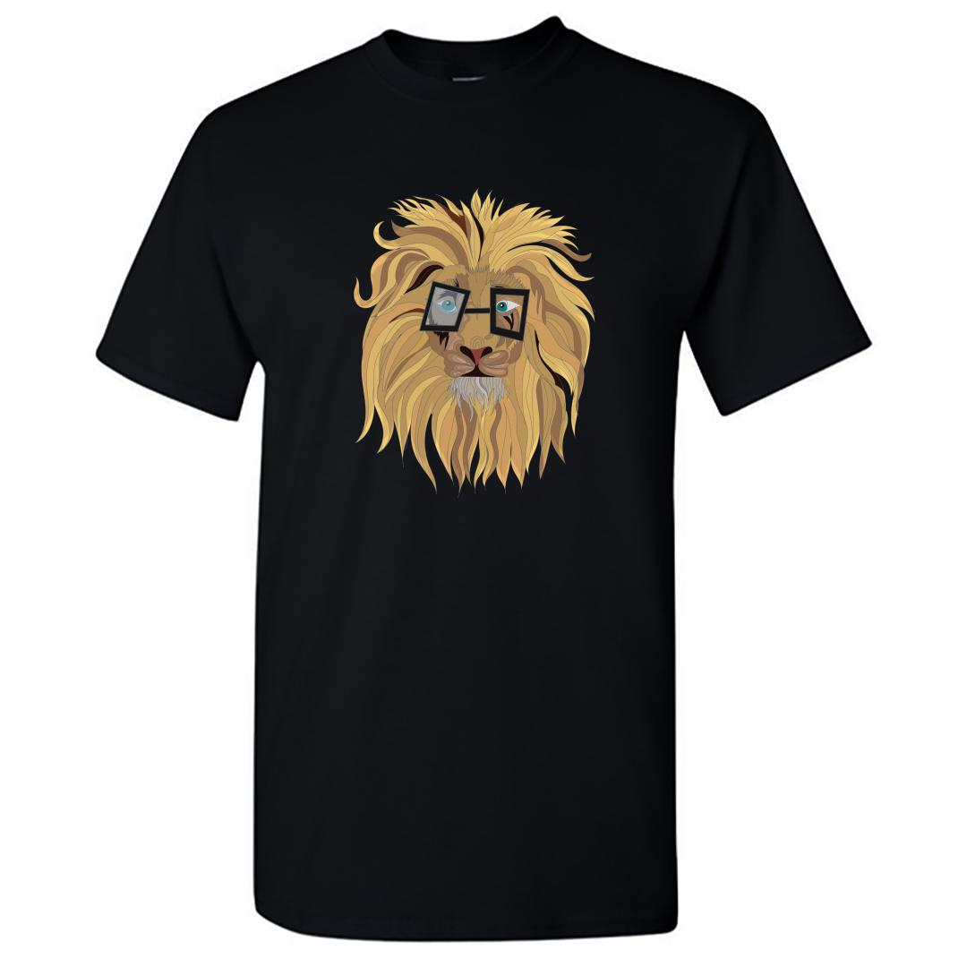 Efb34399 Cute Lion In Glasses Round Neck T Shirt Black Front