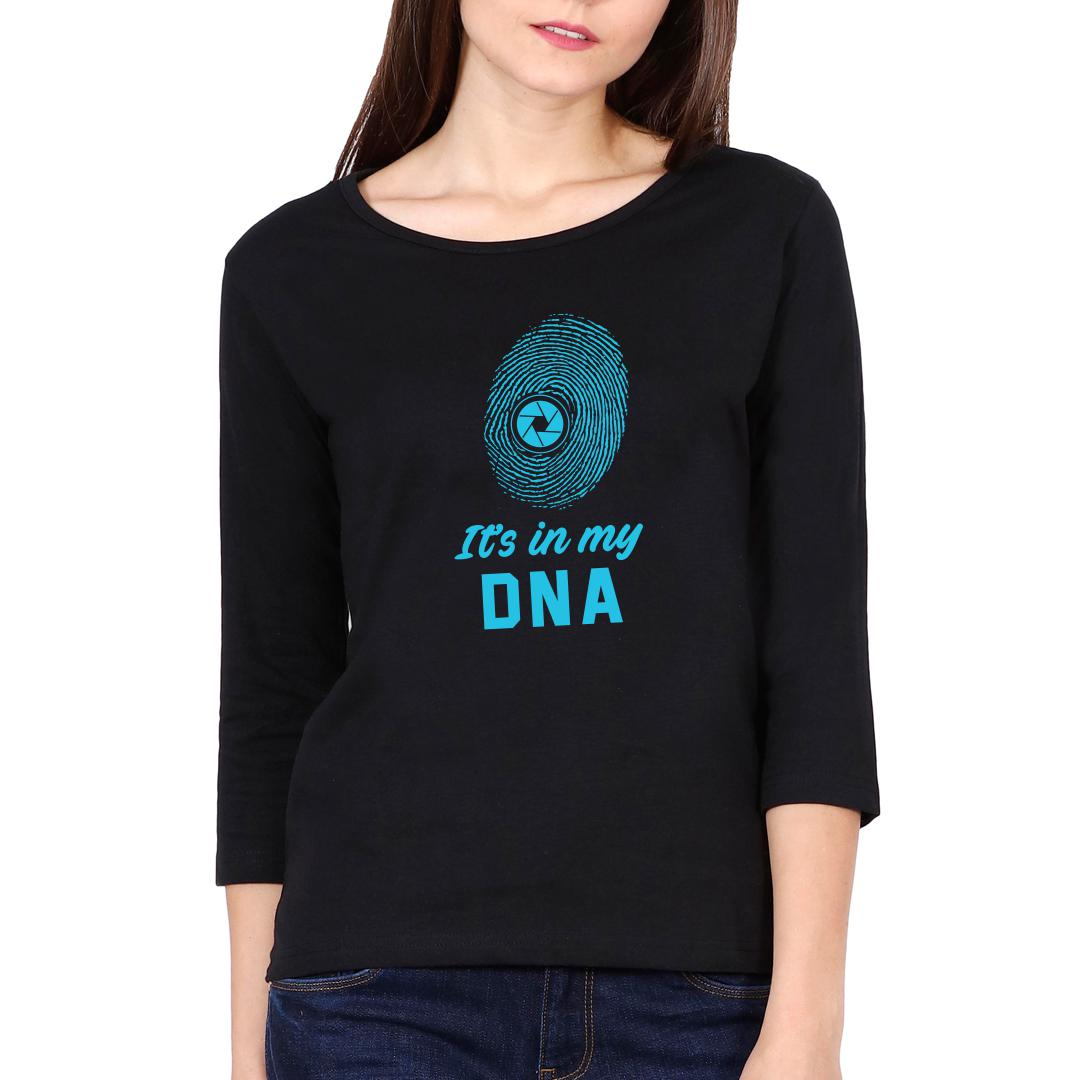 F10ad047 Camera Its In My Dna True Photographer Photography Women Full Sleeve T Shirt Black Front