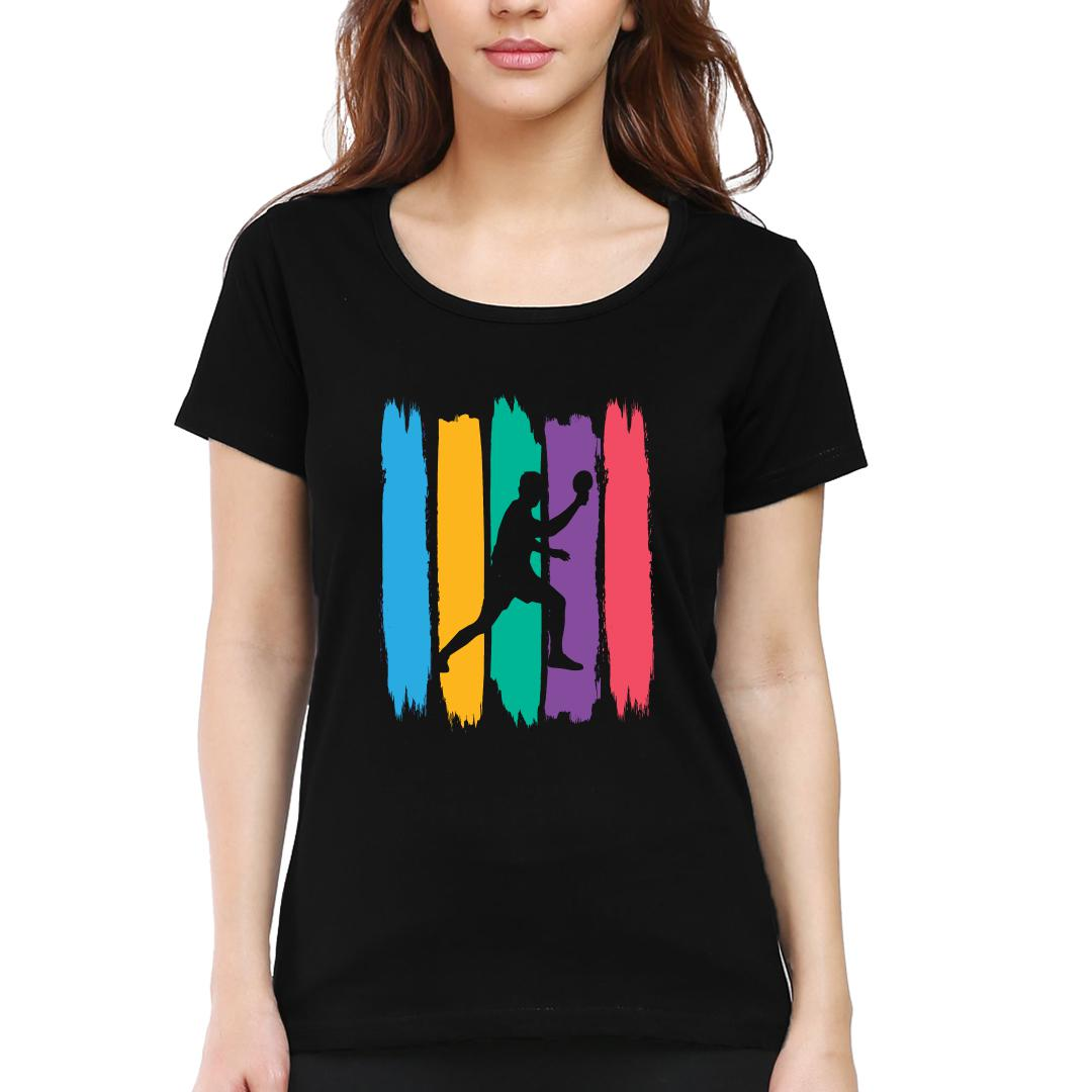 F128a672 Ping Pong Smash It Table Tennis Action Women Round Neck T Shirt Black Front