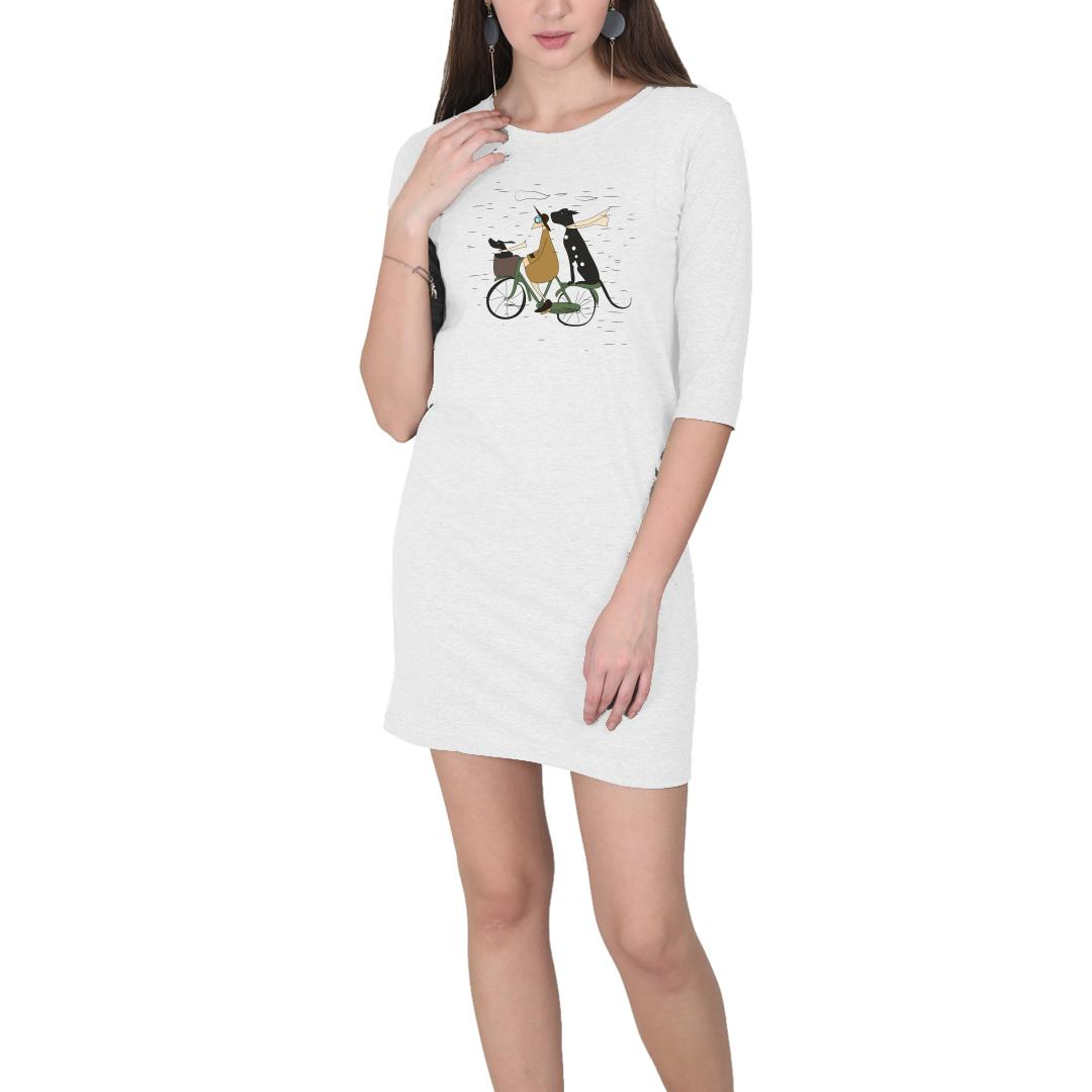 F6a9abe3 Me And My Pets Ride On A Rainy Day Women T Shirt Dress White Front