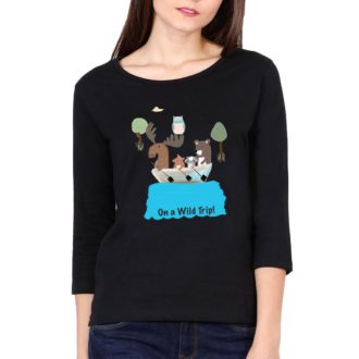 f8b5a018 on a wild trip for animal lovers women full sleeve t shirt black front