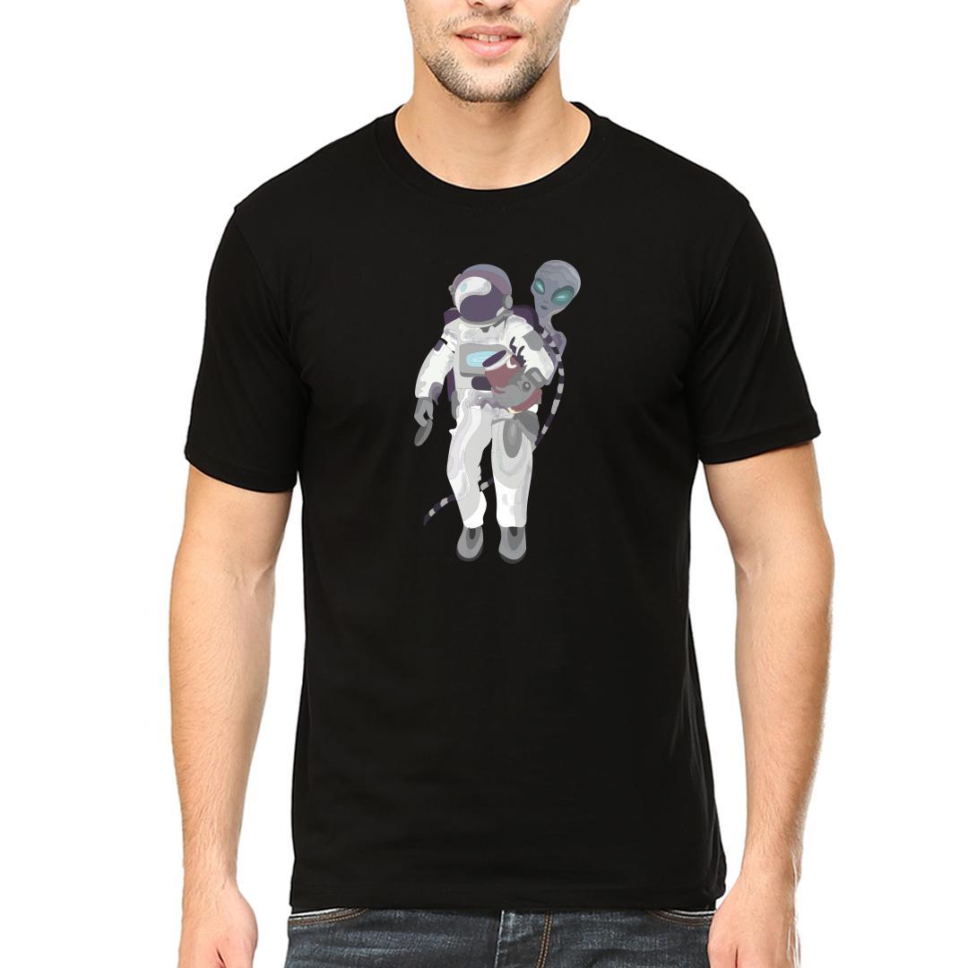 Fbd107dc Friendship Between Alien And Astronautmen Round Neck T Shirt Black Front