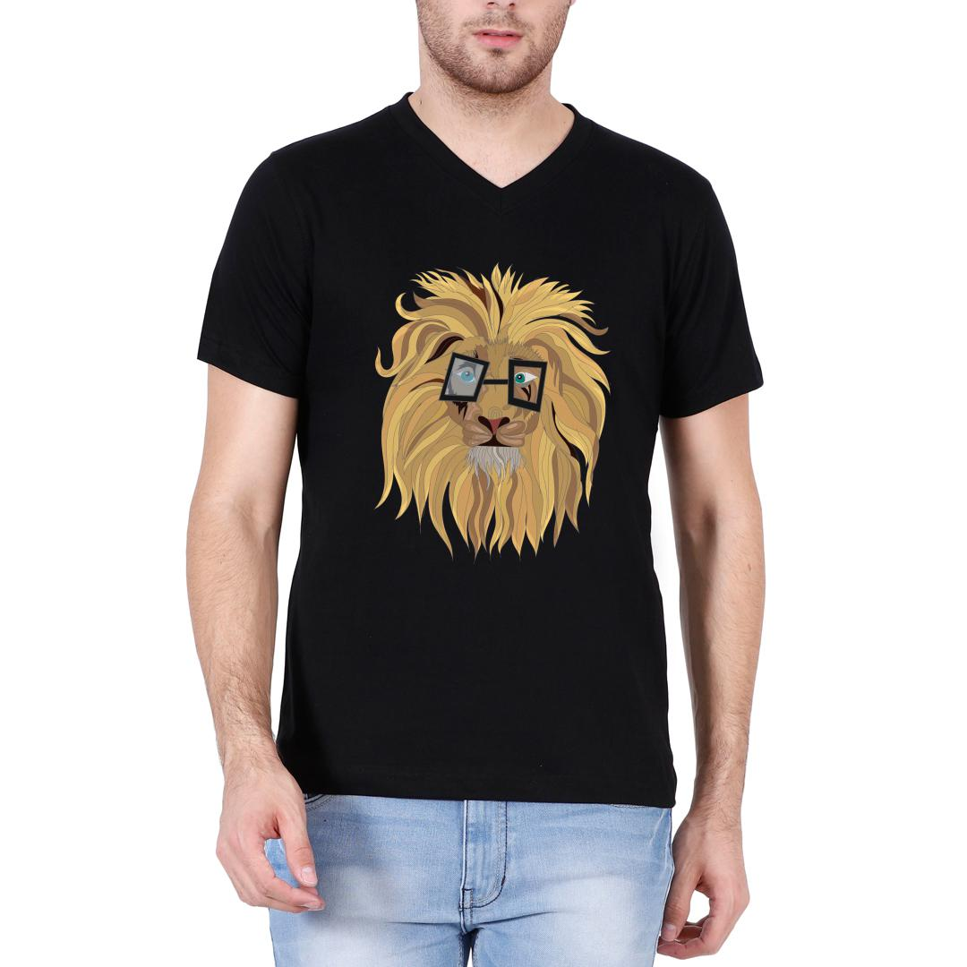 Fd2aa8a7 Cute Lion In Glasses Men V Neck T Shirt Black Front