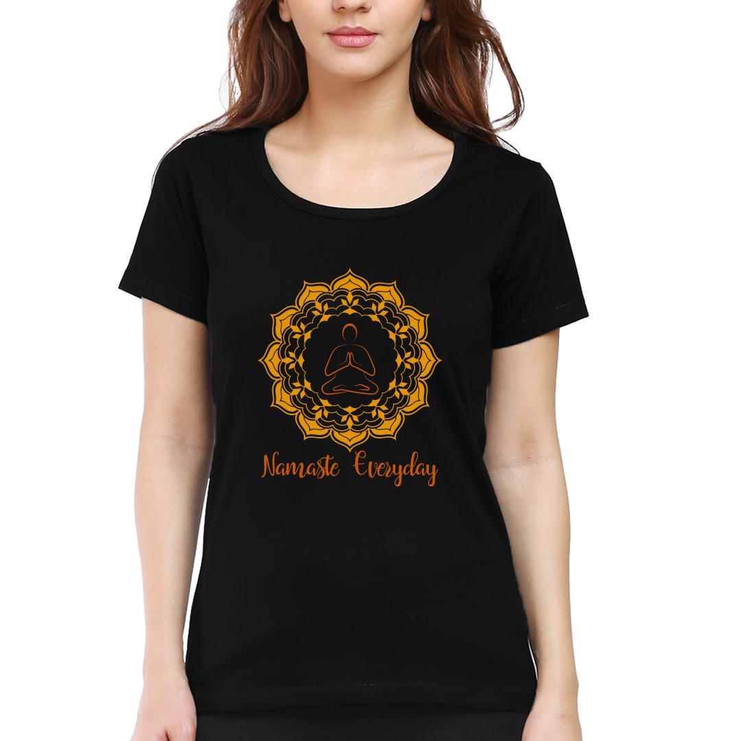 Fe2f2535 Namaste Everyday Women Round Neck T Shirt Black Front