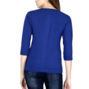 00a7abb1 elbow sleeve women t shirt royal blue back