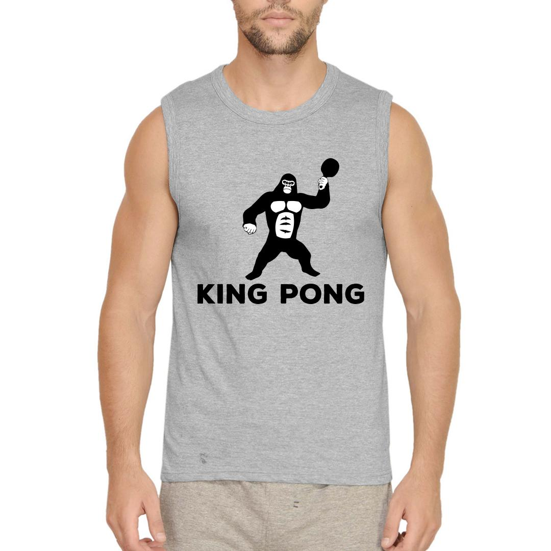 0e35a5a6 King Pong Funny Table Tennis Tt Player Gift Men Sleeveless T Shirt Grey Front