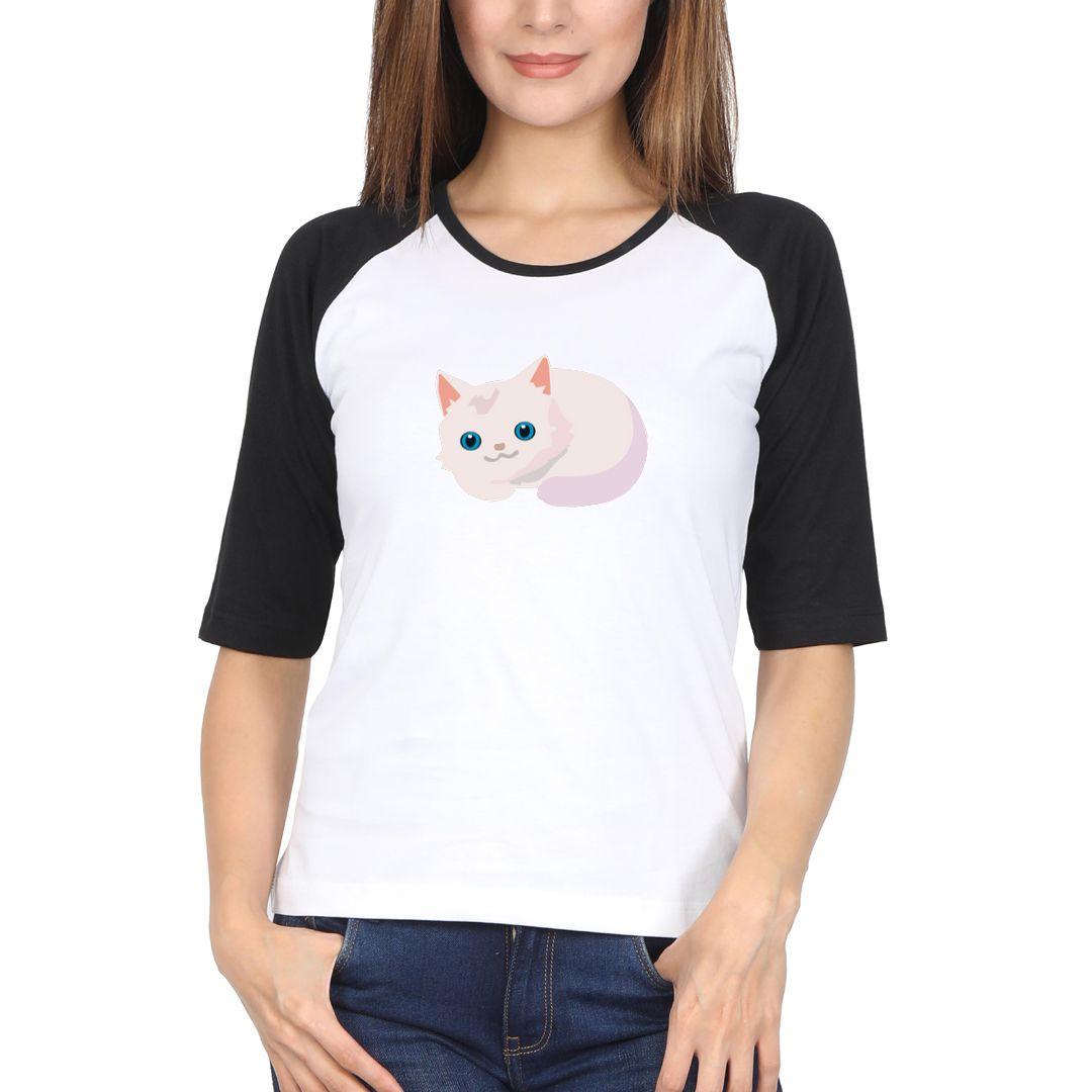 17e373ed Cat Girl Women Raglan Elbow Sleeve T Shirt Black White Front.jpg