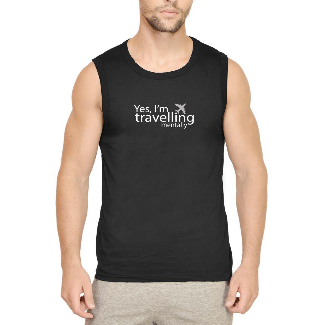 1cb5d3e7 Travelling Mentally Men Sleeveless T Shirt Vest Black Front.jpg
