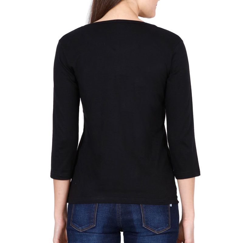 1f02ad7e elbow sleeve women t shirt black back