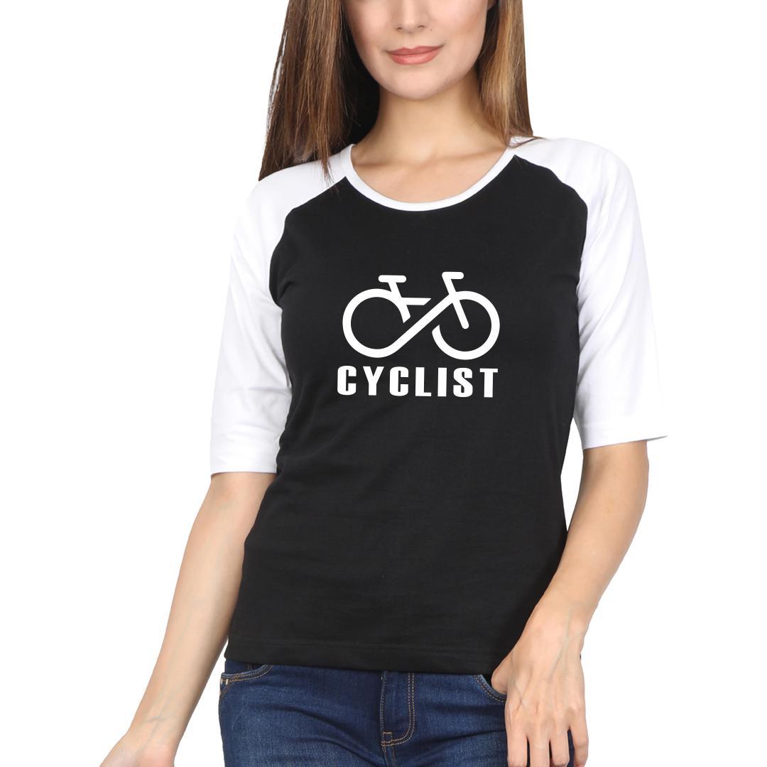 20614b9f Cyclist Logo Women Raglan T Shirt White Black Front
