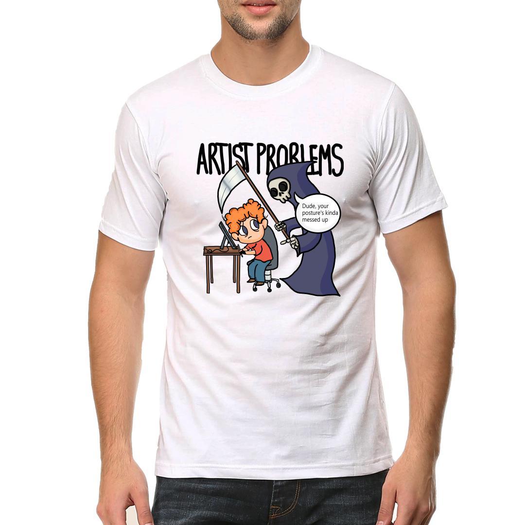 22837ee7 Artist Problems 1 Posturemen Round Neck T Shirt White Front